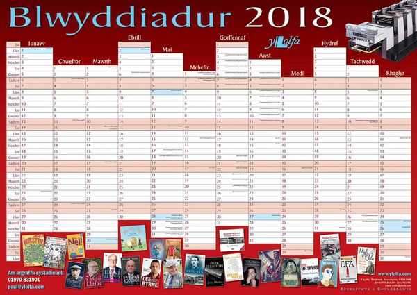 A picture of 'Blwyddiadur Wal 2018 Wall Planner'