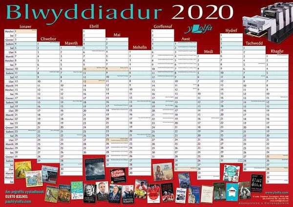 A picture of 'Blwyddiadur Wal 2020 Wall Planner'