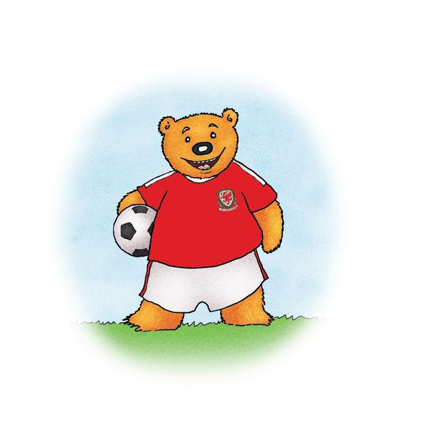 Alun the Bear joins the Welsh football team